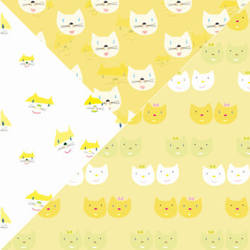 Digital Background Cat Wrapping Paper Kitties Kitten Digital Pattern Mint Green Paper Yellow Paper Scrapbook Paper _Personal+Commercial Use