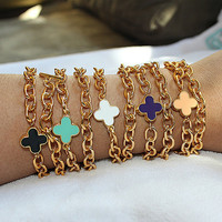 Gold Double Wrap Lucky Clover Bracelet