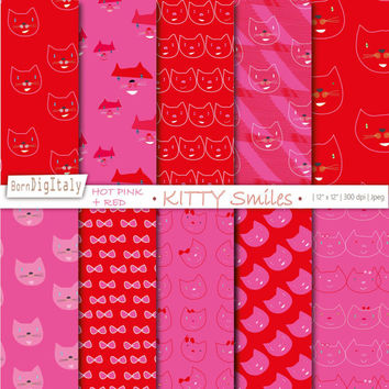 Cat Digital Paper Set Kitten Background Cats Printable Paper Hot Pink Paper  Red Paper Cute Digital Scrapbooking _ Personal + Commercial Use