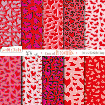 Valentine's Day Digital Paper Printables Valentine Digital Valentines Papers Hearts Digital Paper Digital Scrapbook_ Personal+Commercial Use