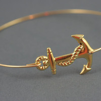 Gold Anchor modern thin bangle