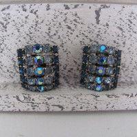 Vintage Jewelry 1950's Weiss Blue Rhinestone Clip On Earrings Mid Century