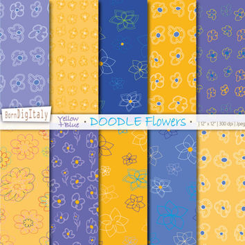 Yellow Digital Paper Floral Digital Paper Doodle Flower Scrapbook Floral Pattern Background Yellow Ochre Blue Paper_Personal+Commercial Use