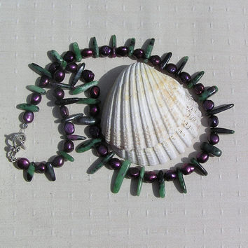 """Crystal Gemstone Statement Necklace, Ruby in Zoisite & Purple Freshwater Pearls """"Jazz"""""""