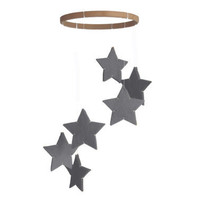 Silver Star Mobile - Gray Grey - Modern Baby Crib Mobile - Nursery Decor