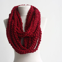 Wool red scarf infinity scarf crochet circle scarf winter women scarves christmas gift idea