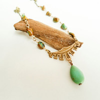 Egyptian Revival, Turquoise, Beaded, Green, Tribal, Ethnic, Necklace, Art Deco, Earthy, Natural
