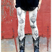 Hot Air Balloon Leggings - Womens Legging - Antique White - Tights - OZ - MEDIUM
