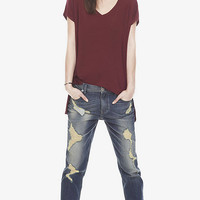 ONE ELEVEN DROP HEM TUNIC TEE - BERRY from EXPRESS