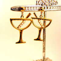 Cocktail Chic (vintage gold tone avon faux pearl martini glass post dangle earrings)