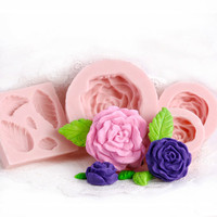Rose Silicone Mold Set of 4 - Fondant Molds - Gum Paste Molds - Food Safe Molds - Candle Molds - Soap Molds