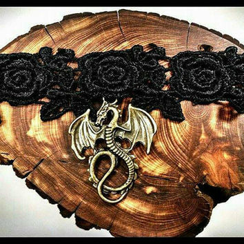 Rose Dragon Choker, Handmade Choker, Lace Choker, Choker Necklace, Dragon, Game of Thrones, Necklace, Gothic, Fantasy, Skyrim, EOS