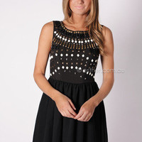 eyes on me beaded cocktail dress - black at Esther Boutique