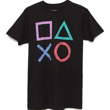 Ripple Junction Playstation Icon T-Shirt - Mens Tee - Black