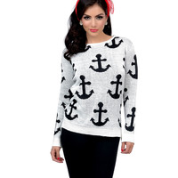 Ivory & Black Anchor Long Sleeve Knit Sweater