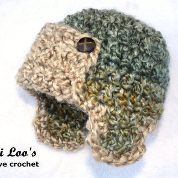 Crochet Pattern For Baby Pilot Hat : Newborn AVIATOR HAT. Baby Photo Prop. from NaniLoos on Etsy
