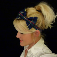 Prep school plaid bow stretch headband pinup/retro/feminine