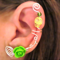 1 Non Pierced Ear Cuff - Halloween, Dia de los Muertos, Samhain Skull Rose Yellow and Neon Green