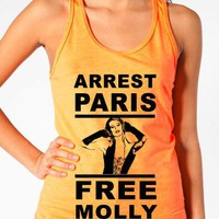 Paris Hilton DJ Shirts - &quot;Arrest Paris, Free Molly&quot; - Women&#x27;s Neon Tanks and Tees - Bad Kids Clothing  Bad Kids Clothing