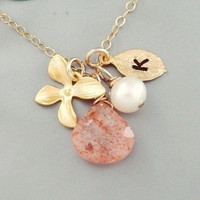 Initial charm Necklace, Custom Birthstone and Orchid, Pearl, Sun stone, GOLD Fill, Monogram Mother's Jewelry, Bridesmaid Personalize gifts