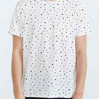 BDG Ditzy Print Standard-Fit Crew Neck Tee- White