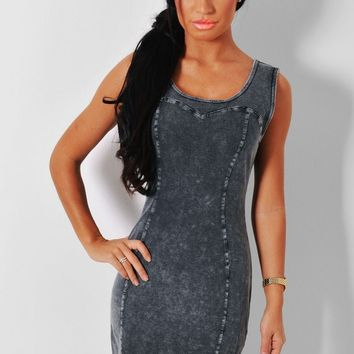 Lottie Grey Denim Bodycon Illusion Dress | Pink Boutique