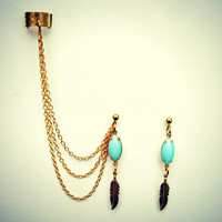 blue feather ear cuff and earrings, chains ear cuff, feather earrings, tribal earrings, vintage stlye