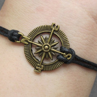 Pirates Cribbean Compass Charm Bracelet---Antique Brass Compass Pendant Bracelet & Black Wax Cords Chain-L187