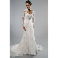 A-line Strapless Beaded Appliques Court Train Lace Chiffon Wedding Dress - Star Bridal Apparel