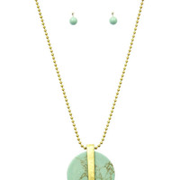 Big Wheel Turquoise Disk Long Layering Necklace Set