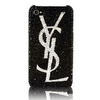 Free Shippig- Bling YSL Genuine Swarovski Element Crystals case for iPhone 4 4S FREE Swarovski Home Button Sticker