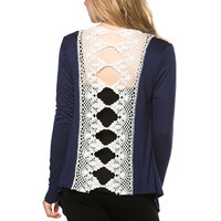 Crochet Back Cardigan - Navy