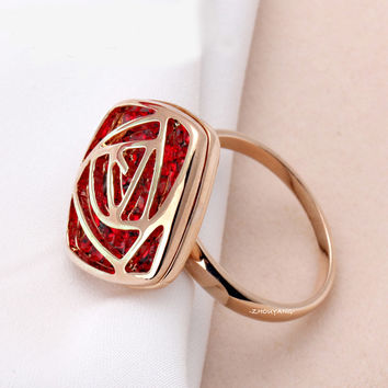 Luxurious Hollow Out Red Rose 18K Gold Plated Wedding Ring Austrian Crystals