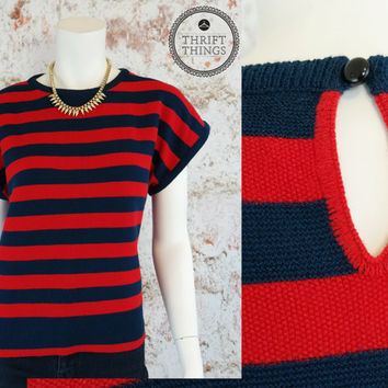 Vintage 80s Short Sleeve Sweater Red + Blue Striped Shirt Boxy Flowy Cropped Slochy Patriotic Top Knit Blouse Retro Print Medium Large M L