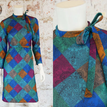 Vintage 70s Dress Hippie Boho 3/4 Sleeve Disco Party Belted Ethnic Long Midi Dress Color Blocking S M Small Medium