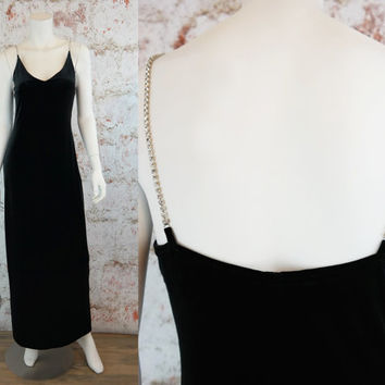 Vintage 80s Black Dress Long Formal Velour Gown Velvet Gorgeous Evening Gown Party Stretchy M Medium