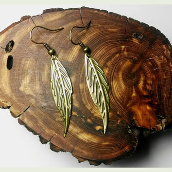 Handmade Tiny Thin Bronze Feather Leaf Earrings Handmade Earrings Handmade Jewelry