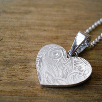 Silver Heart Necklace Heart Jewelry.. on Luulla