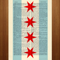 Chicago Flag Print on Vintage Dictionary Paper