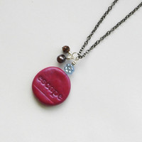 Necklace polymer clay tag.Necklace with a tag (escape). Magenta polymer clay necklace. Polymer clay tag. Necklace inspirational tag.