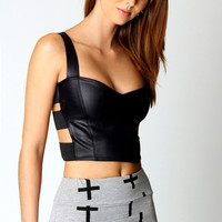 Anya Wet Look Strappy Side Crop Top