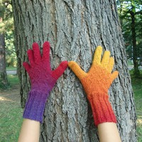 Rainbow Knitted Gloves from Kauni EQ Wool designed by by dodofit