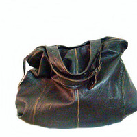 Distressed Recycled Leather Hand Bag Dark Brown Repurposed Tote