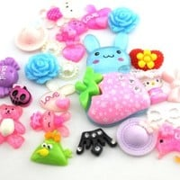30 pcs Mixed animal kawaii flat back resin cabochons DIY decoration Cell Phone Nail Art Beauty Ornament Design hair snap beads IMG3892