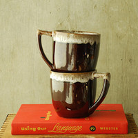 Vintage Hull Pottery Style Mugs in Brown