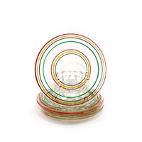Rainbow punch plates - vintage party snack serving plates striped glass