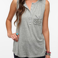 Daydreamer LA Studded Pocket Henley Tank Top