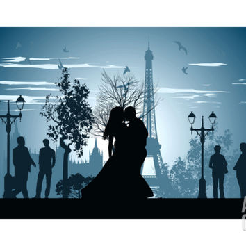 Man and Woman Kissing on A Street in Paris Art Print by Stockerteam at Art.com