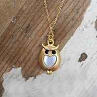 Owl My Heart Necklace [3352] - $16.00 : Vintage Inspired Clothing & Affordable Fall Frocks, deloom | Modern. Vintage. Crafted.