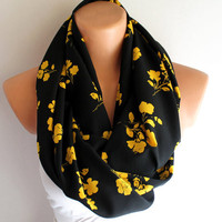 Infinity Scarf Loop Scarf Circle Scarf Yellow Flowers on Black